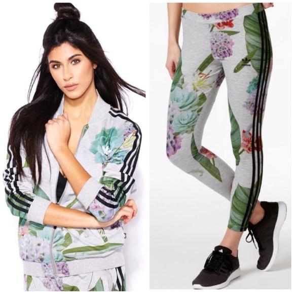 bad384f0978 2PC💜Adidas Floral Jacket   Leggings Set S